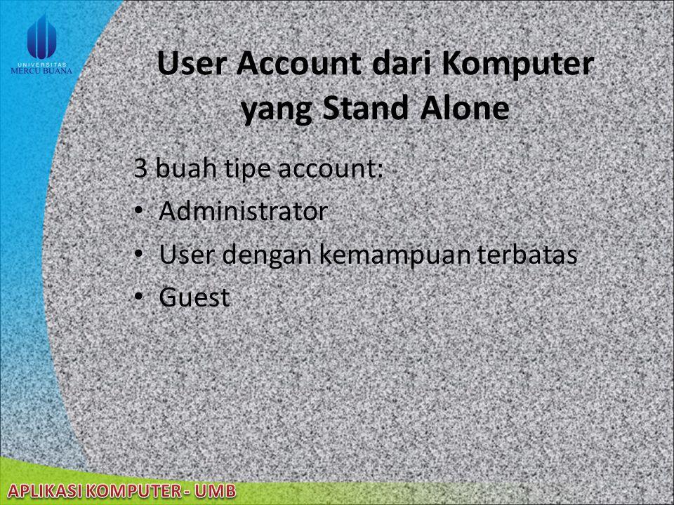 User Account Melakukan definisi pada aksi-aksi yang dapat dilakukan oleh seorang user di Windows XP Berdasarkan komputer: – User Account dari Komputer
