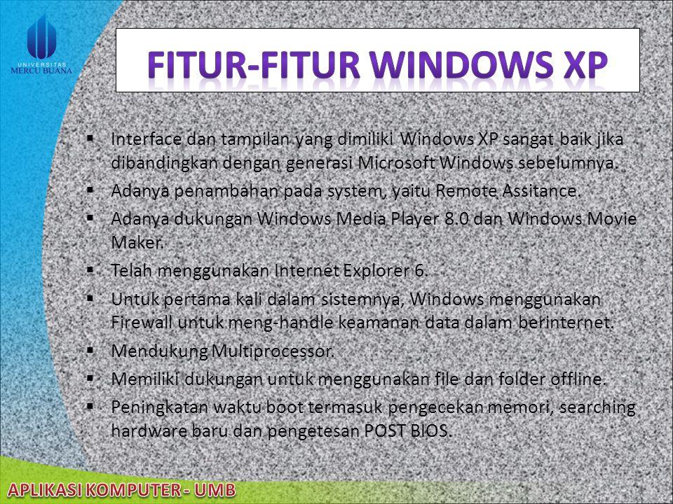  Interface dan tampilan yang dimiliki Windows XP sangat baik jika dibandingkan dengan generasi Microsoft Windows sebelumnya.