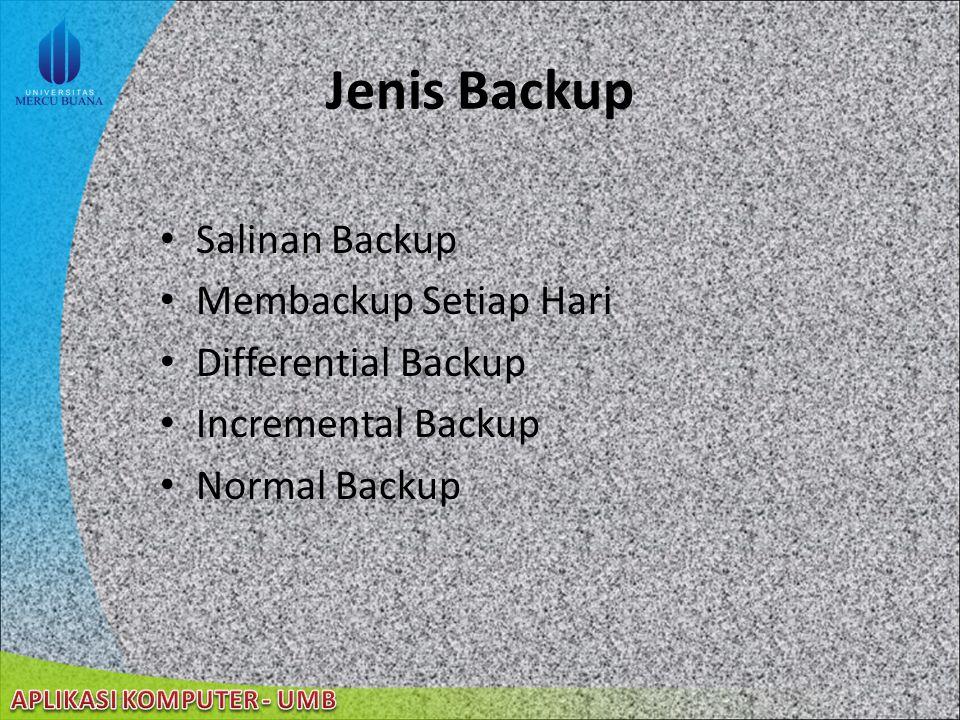 22/08/2014 Backup Data membantu user untuk membuat salinan data yang ada pada hard disk membuat salinan data dan menyimpannya dalam media lain; logica