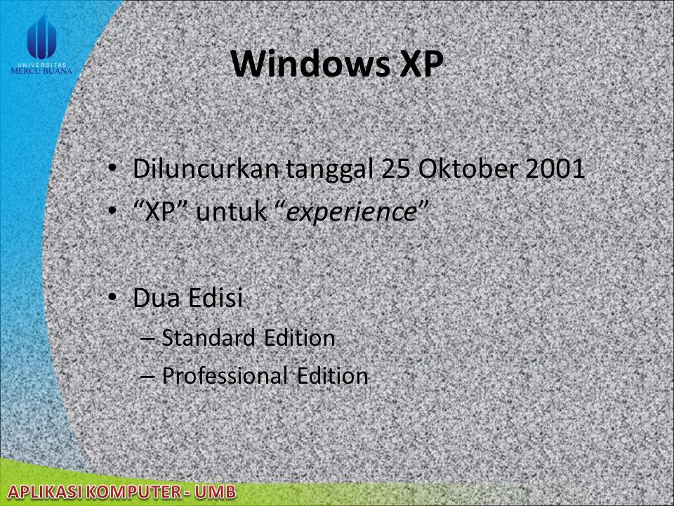 22/08/2014 Windows XP Diluncurkan tanggal 25 Oktober 2001 XP untuk experience Dua Edisi – Standard Edition – Professional Edition