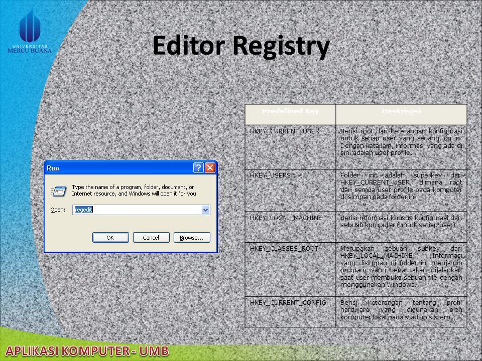 22/08/2014 Registry Windows Windows XP menyimpan seluruh konfigurasi dalam sebuah basis data yang disebut registry registry berisi profil untuk setiap