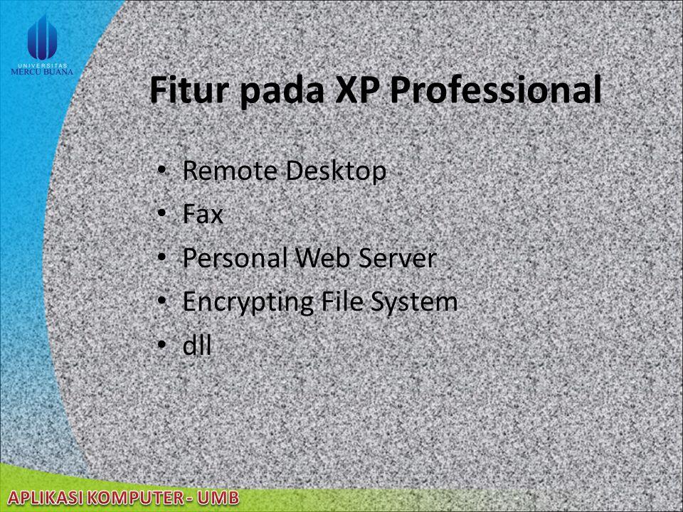22/08/2014 Fitur baru pada Windows XP Professional (cont'd) Error Reporting Windows XP Professional dan koneksi Internet dapat mengijinkan user melaporkan sistem dan program yang mengalami gangguan (error) ClearType meningkatkan resolusi font secara dramatis, sehingga tampilan font di layar akan menjadi halus