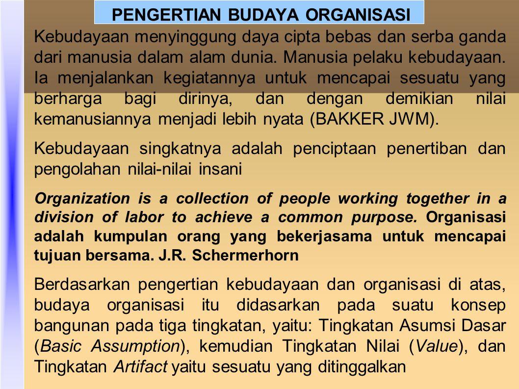 Budaya organisasi merupakan bentuk keyakinan, nilai, cara yang bisa dipelajari untuk mengatasi dan hidup dalam organisasi, budaya organisasi itu cenderung untuk diwujudkan oleh anggota organisasi (Brown, 1998: 34) Robin (2003): Budaya organisasi itu merupakan suatu system nilai yang dipegang dan dilakukan oleh anggota organisasi.