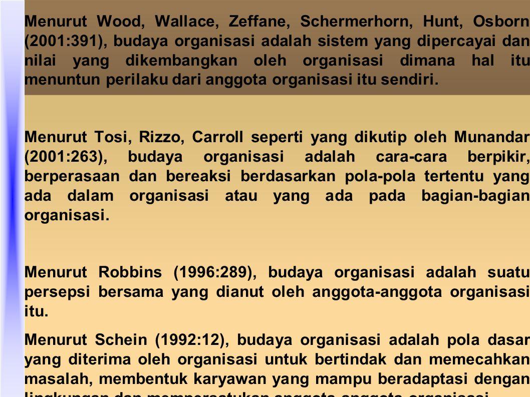 Menurut Wood, Wallace, Zeffane, Schermerhorn, Hunt, Osborn (2001:391), budaya organisasi adalah sistem yang dipercayai dan nilai yang dikembangkan oleh organisasi dimana hal itu menuntun perilaku dari anggota organisasi itu sendiri.