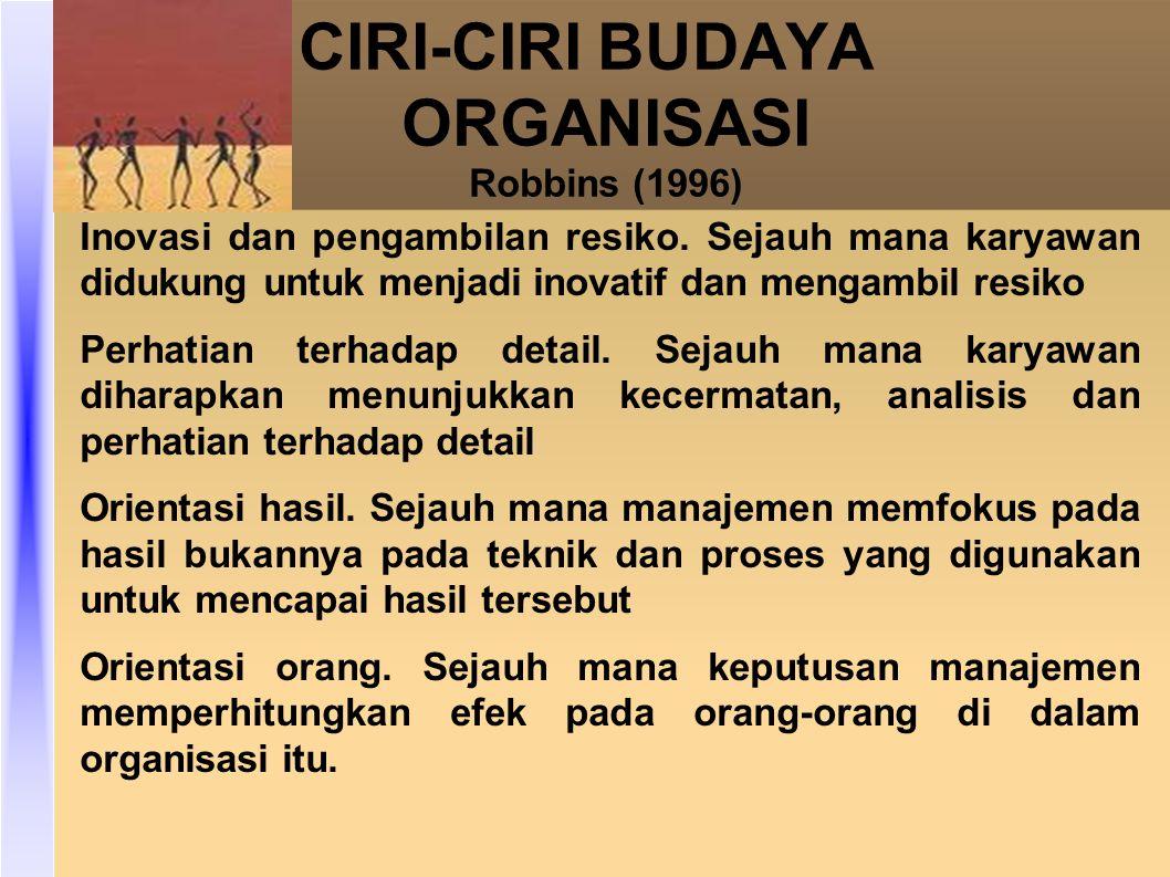 CIRI-CIRI BUDAYA ORGANISASI Robbins (1996) Inovasi dan pengambilan resiko.