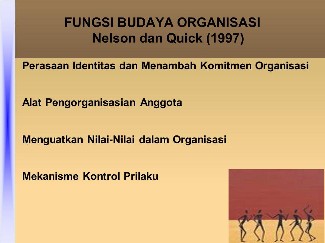 FUNGSI BUDAYA ORGANISASI Nelson dan Quick (1997) Perasaan Identitas dan Menambah Komitmen Organisasi Alat Pengorganisasian Anggota Menguatkan Nilai-Nilai dalam Organisasi Mekanisme Kontrol Prilaku