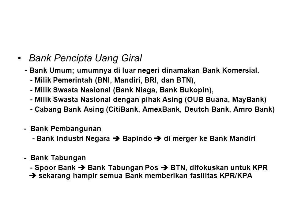 Diluar Sistem Moneter Bank Bukan Pencipta Uang Giral - Bank Tabungan Swasta  Bank Tabungan Sakura (X) - BPR, ada di mana mana, dan ada yang bermasalah Lembaga Keuangan Bukan Bank (LKBB) - LKBB Pembiayaan Pembangunan; PDFCI, UPPINDO - LKBB Pembiayaan Investasi; Finconesia, Merincorp - LKBB KPR;PT Papan Sejahtera  Bank Papan (X) - LKBB Mutual Funds; PT (Persero) Danareksa