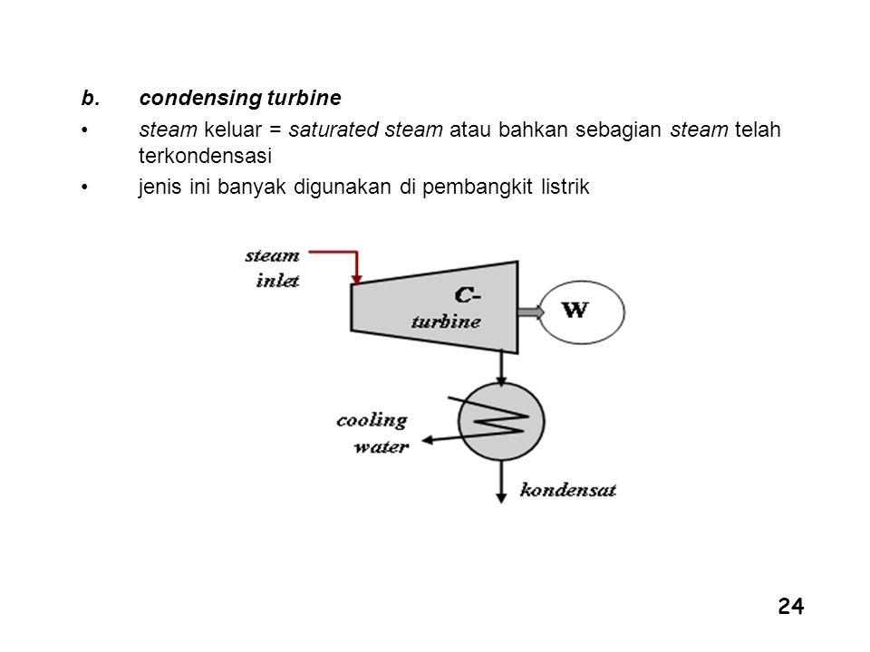 24 b.condensing turbine steam keluar = saturated steam atau bahkan sebagian steam telah terkondensasi jenis ini banyak digunakan di pembangkit listrik