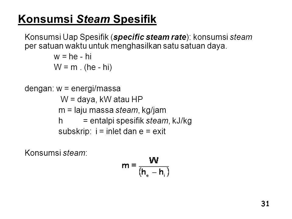 31 Konsumsi Steam Spesifik Konsumsi Uap Spesifik (specific steam rate): konsumsi steam per satuan waktu untuk menghasilkan satu satuan daya. w = he -