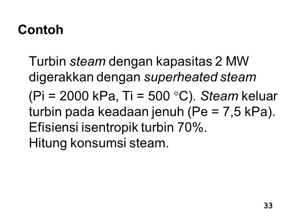 33 Contoh Turbin steam dengan kapasitas 2 MW digerakkan dengan superheated steam (Pi = 2000 kPa, Ti = 500  C). Steam keluar turbin pada keadaan jenuh
