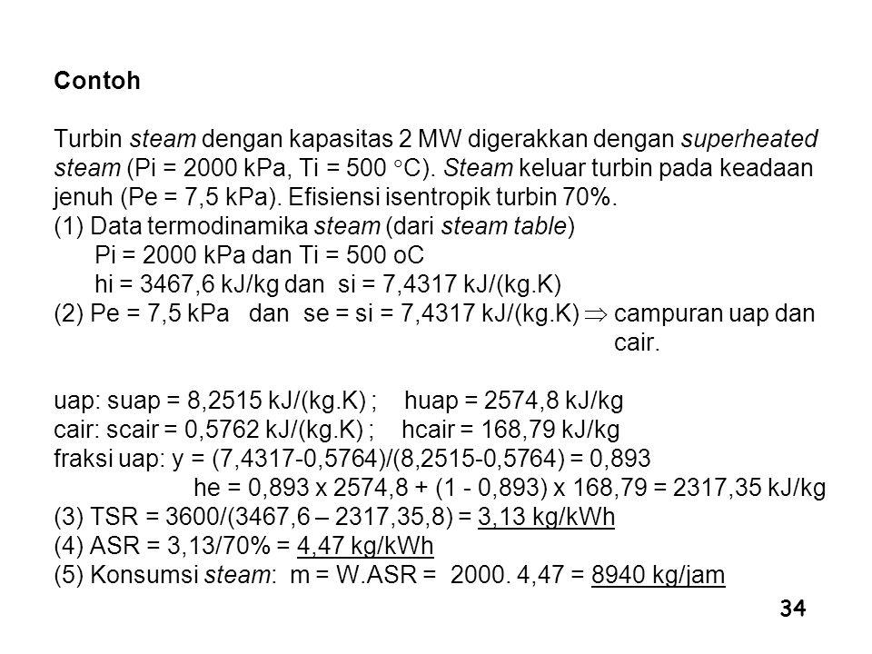 34 Contoh Turbin steam dengan kapasitas 2 MW digerakkan dengan superheated steam (Pi = 2000 kPa, Ti = 500  C). Steam keluar turbin pada keadaan jenuh