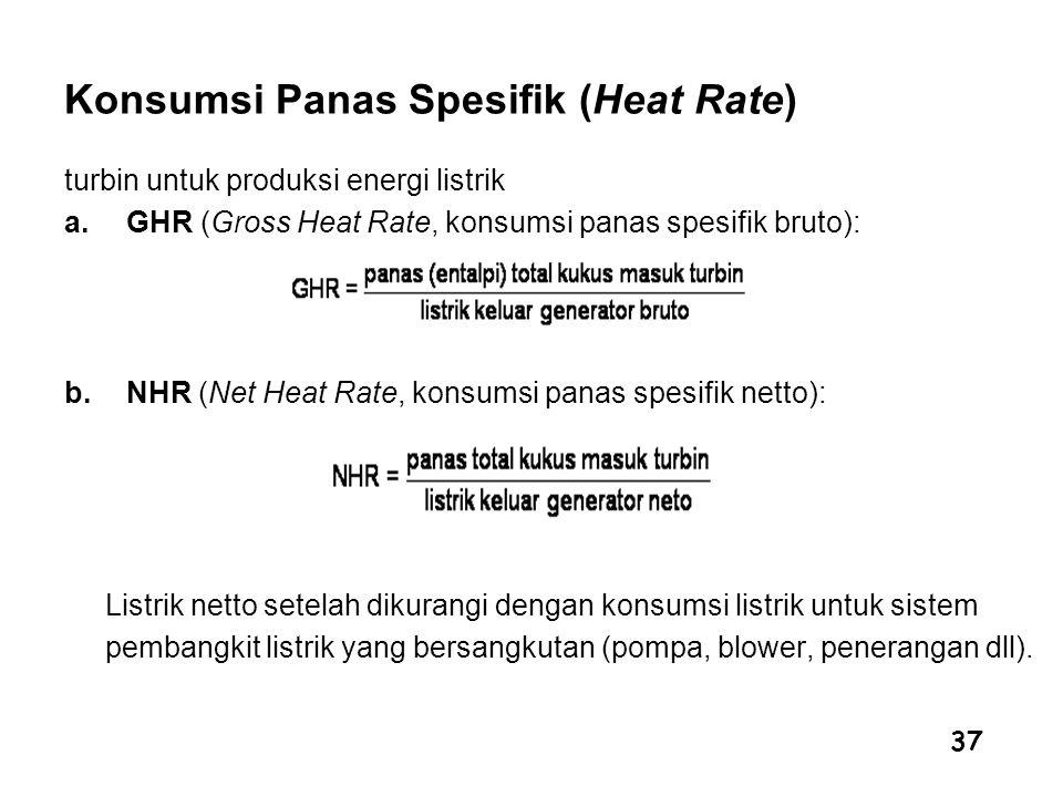 37 Konsumsi Panas Spesifik (Heat Rate) turbin untuk produksi energi listrik a.GHR (Gross Heat Rate, konsumsi panas spesifik bruto): b.NHR (Net Heat Ra