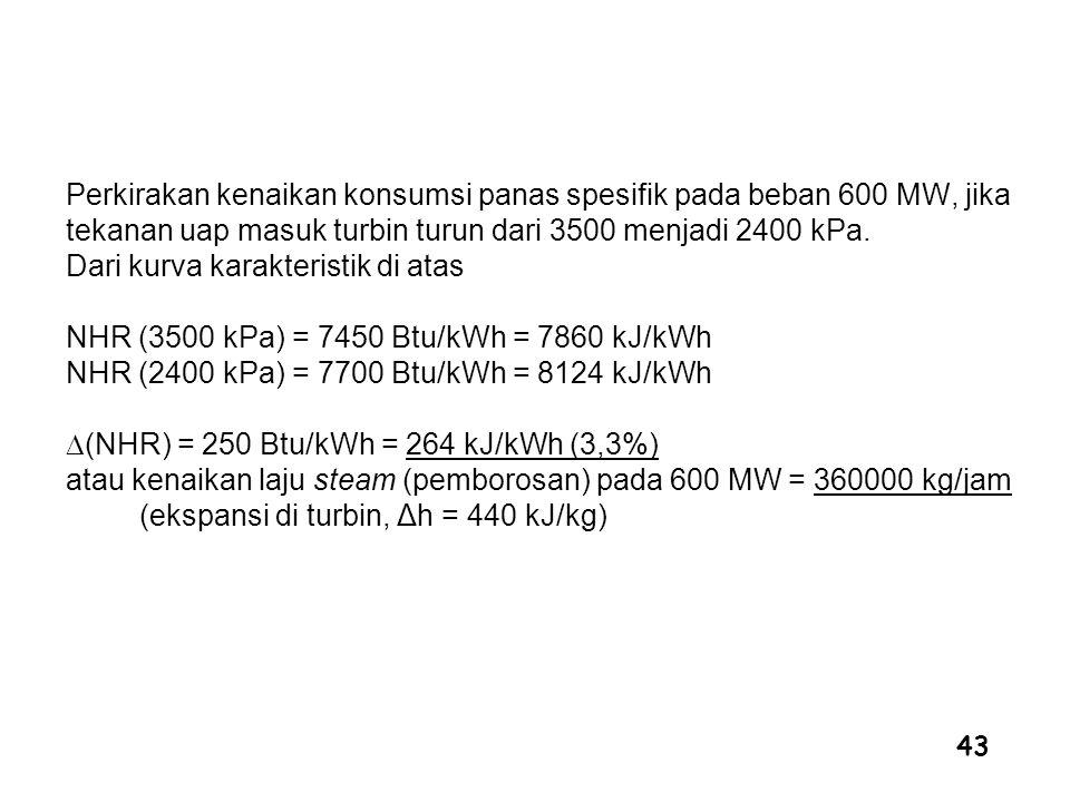 43 Perkirakan kenaikan konsumsi panas spesifik pada beban 600 MW, jika tekanan uap masuk turbin turun dari 3500 menjadi 2400 kPa. Dari kurva karakteri