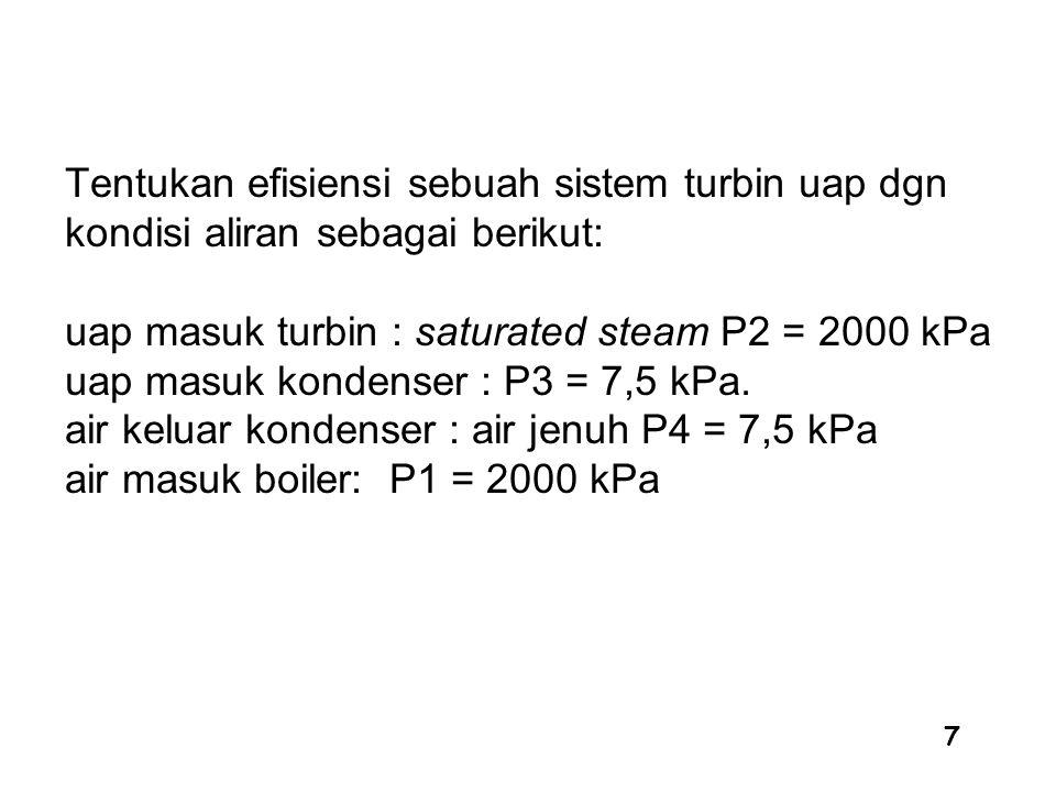 7 Tentukan efisiensi sebuah sistem turbin uap dgn kondisi aliran sebagai berikut: uap masuk turbin : saturated steam P2 = 2000 kPa uap masuk kondenser