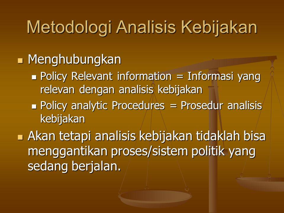 Metodologi Analisis Kebijakan Menghubungkan Menghubungkan Policy Relevant information = Informasi yang relevan dengan analisis kebijakan Policy Releva