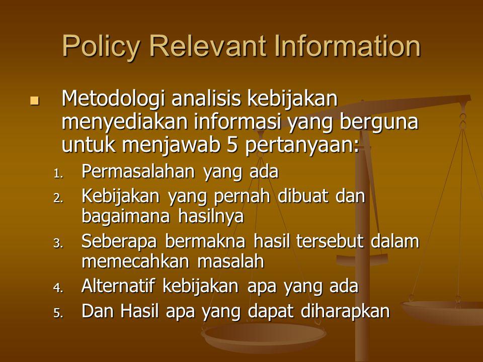 Policy Relevant Information Metodologi analisis kebijakan menyediakan informasi yang berguna untuk menjawab 5 pertanyaan: Metodologi analisis kebijaka