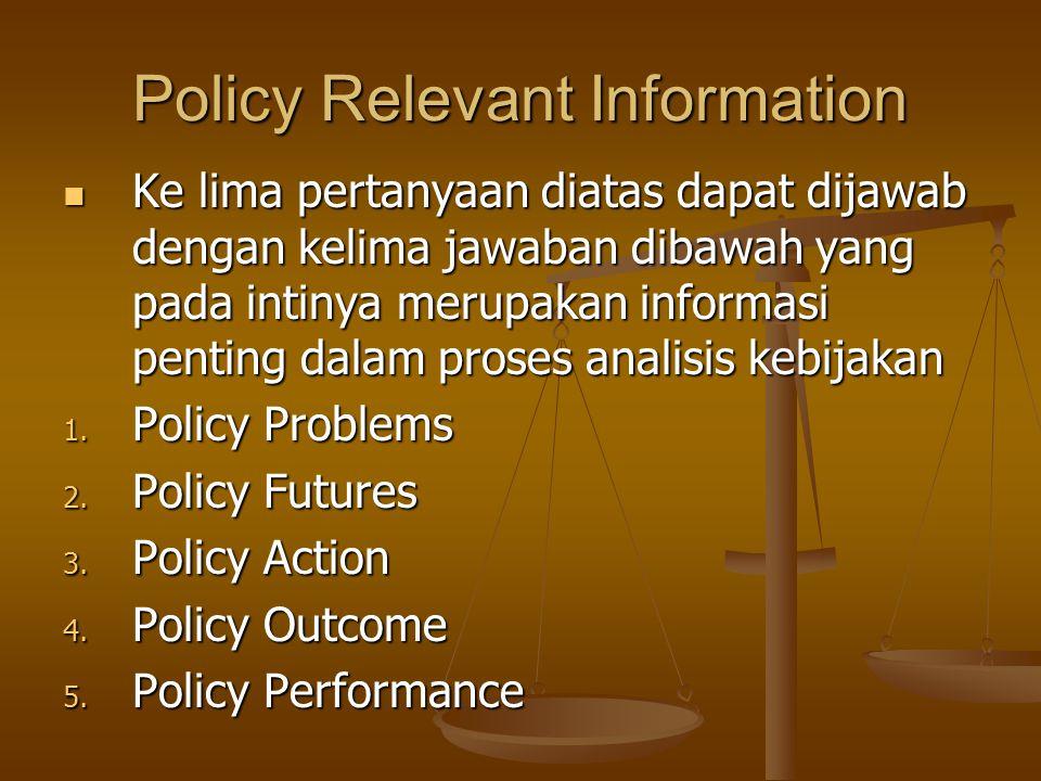 Policy Relevant Information Ke lima pertanyaan diatas dapat dijawab dengan kelima jawaban dibawah yang pada intinya merupakan informasi penting dalam