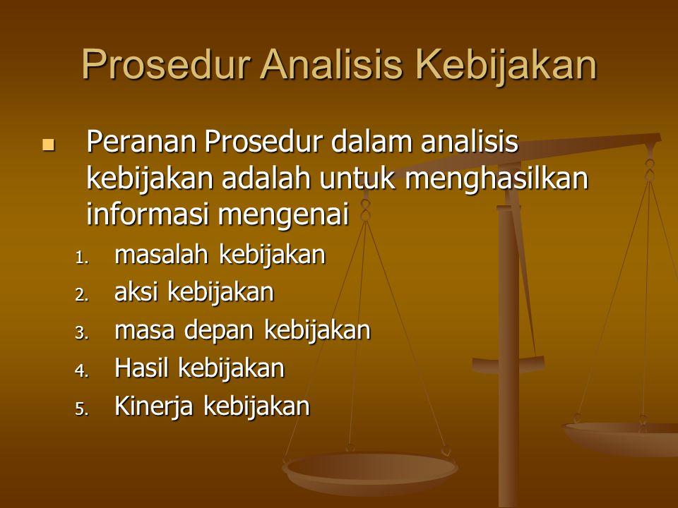 Prosedur Analisis Kebijakan Peranan Prosedur dalam analisis kebijakan adalah untuk menghasilkan informasi mengenai Peranan Prosedur dalam analisis keb