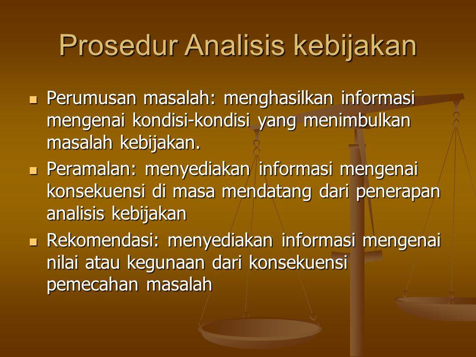 Prosedur Analisis kebijakan Perumusan masalah: menghasilkan informasi mengenai kondisi-kondisi yang menimbulkan masalah kebijakan. Perumusan masalah: