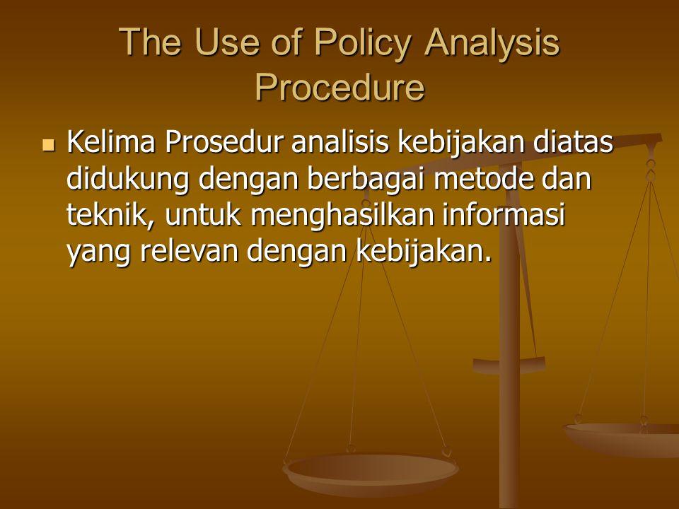 The Use of Policy Analysis Procedure Kelima Prosedur analisis kebijakan diatas didukung dengan berbagai metode dan teknik, untuk menghasilkan informas