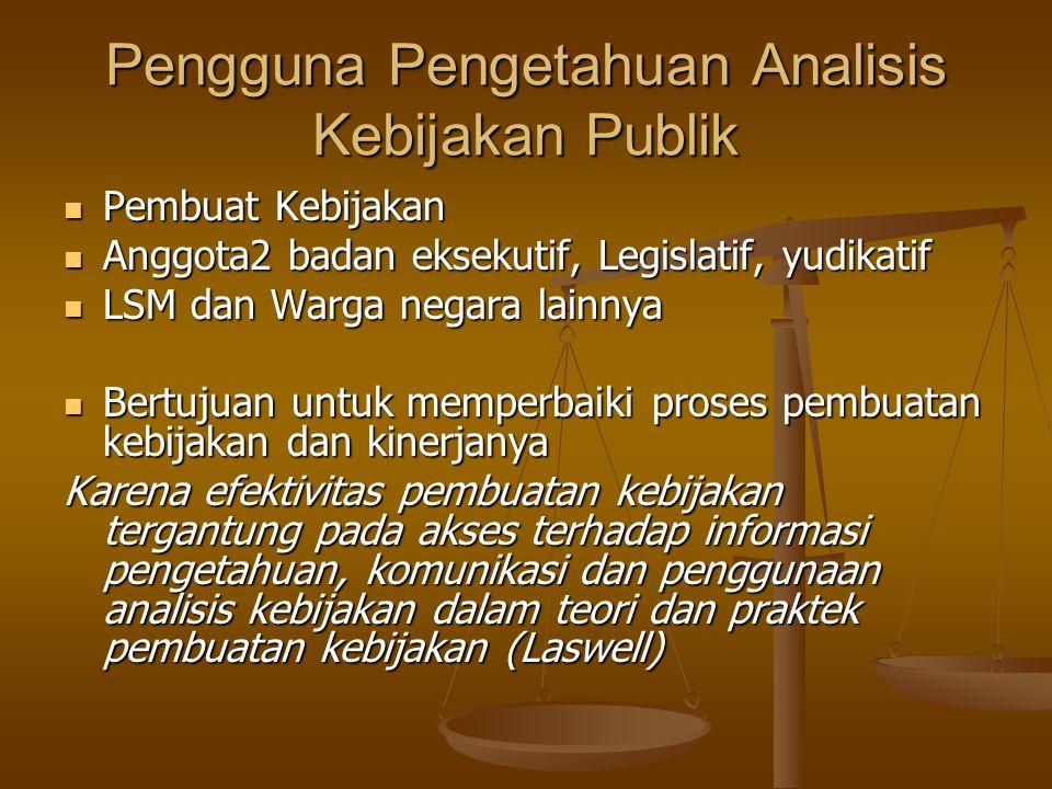 Pengguna Pengetahuan Analisis Kebijakan Publik Pembuat Kebijakan Pembuat Kebijakan Anggota2 badan eksekutif, Legislatif, yudikatif Anggota2 badan ekse