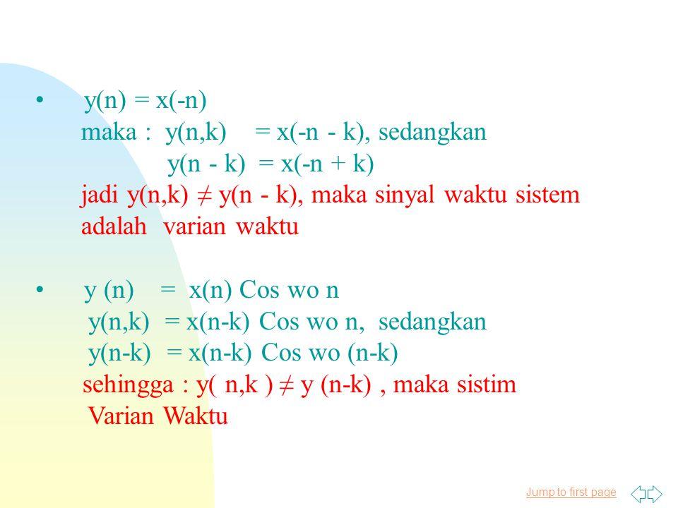 Jump to first page y(n) = x(-n) maka : y(n,k) = x(-n - k), sedangkan y(n - k) = x(-n + k) jadi y(n,k) ≠ y(n - k), maka sinyal waktu sistem adalah varian waktu y (n) = x(n) Cos wo n y(n,k) = x(n-k) Cos wo n, sedangkan y(n-k) = x(n-k) Cos wo (n-k) sehingga : y( n,k ) ≠ y (n-k), maka sistim Varian Waktu