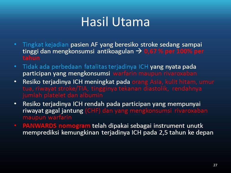 Hasil Utama Tingkat kejadian pasien AF yang beresiko stroke sedang sampai tinggi dan mengkonsumsi antikoagulan  0,67 % per 100% per tahun Tidak ada perbedaan fatalitas terjadinya ICH yang nyata pada participan yang mengkonsumsi warfarin maupun rivaroxaban Resiko terjadinya ICH meningkat pada orang Asia, kulit hitam, umur tua, riwayat stroke/TIA, tingginya tekanan diastolik, rendahnya jumlah platelet dan albumin Resiko terjadinya ICH rendah pada participan yang mempunyai riwayat gagal jantung (CHF) dan yang mengkonsumsi rivaroxaban maupun warfarin PANWARDS nomogram telah dipakai sebagai instrument unutk memprediksi kemungkinan terjadinya ICH pada 2,5 tahun ke depan 27