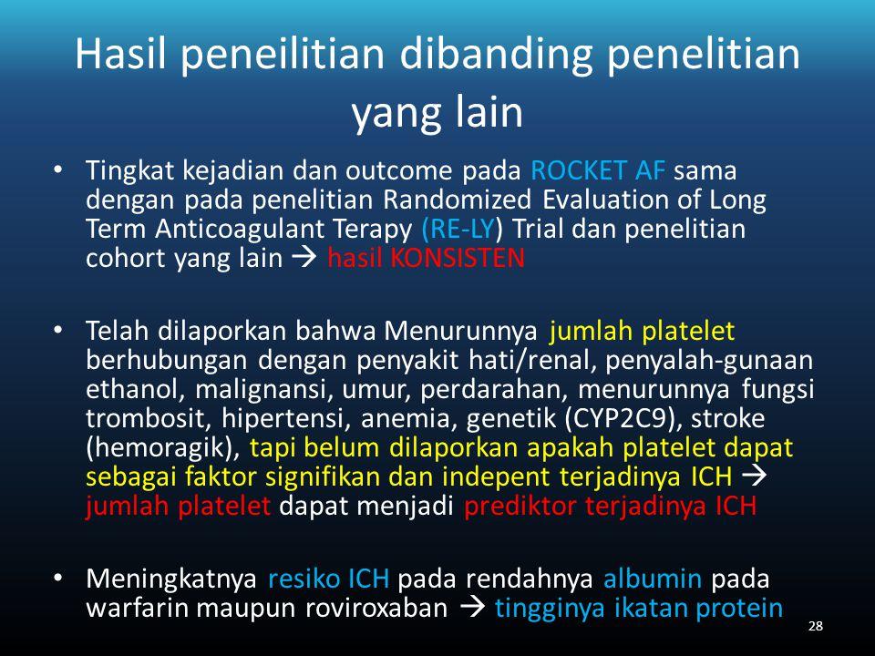 Hasil peneilitian dibanding penelitian yang lain Tingkat kejadian dan outcome pada ROCKET AF sama dengan pada penelitian Randomized Evaluation of Long Term Anticoagulant Terapy (RE-LY) Trial dan penelitian cohort yang lain  hasil KONSISTEN Telah dilaporkan bahwa Menurunnya jumlah platelet berhubungan dengan penyakit hati/renal, penyalah-gunaan ethanol, malignansi, umur, perdarahan, menurunnya fungsi trombosit, hipertensi, anemia, genetik (CYP2C9), stroke (hemoragik), tapi belum dilaporkan apakah platelet dapat sebagai faktor signifikan dan indepent terjadinya ICH  jumlah platelet dapat menjadi prediktor terjadinya ICH Meningkatnya resiko ICH pada rendahnya albumin pada warfarin maupun roviroxaban  tingginya ikatan protein 28