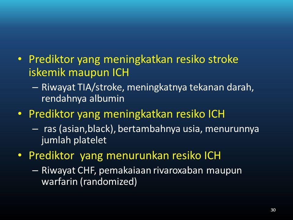 Prediktor yang meningkatkan resiko stroke iskemik maupun ICH – Riwayat TIA/stroke, meningkatnya tekanan darah, rendahnya albumin Prediktor yang meningkatkan resiko ICH – ras (asian,black), bertambahnya usia, menurunnya jumlah platelet Prediktor yang menurunkan resiko ICH – Riwayat CHF, pemakaiaan rivaroxaban maupun warfarin (randomized) 30