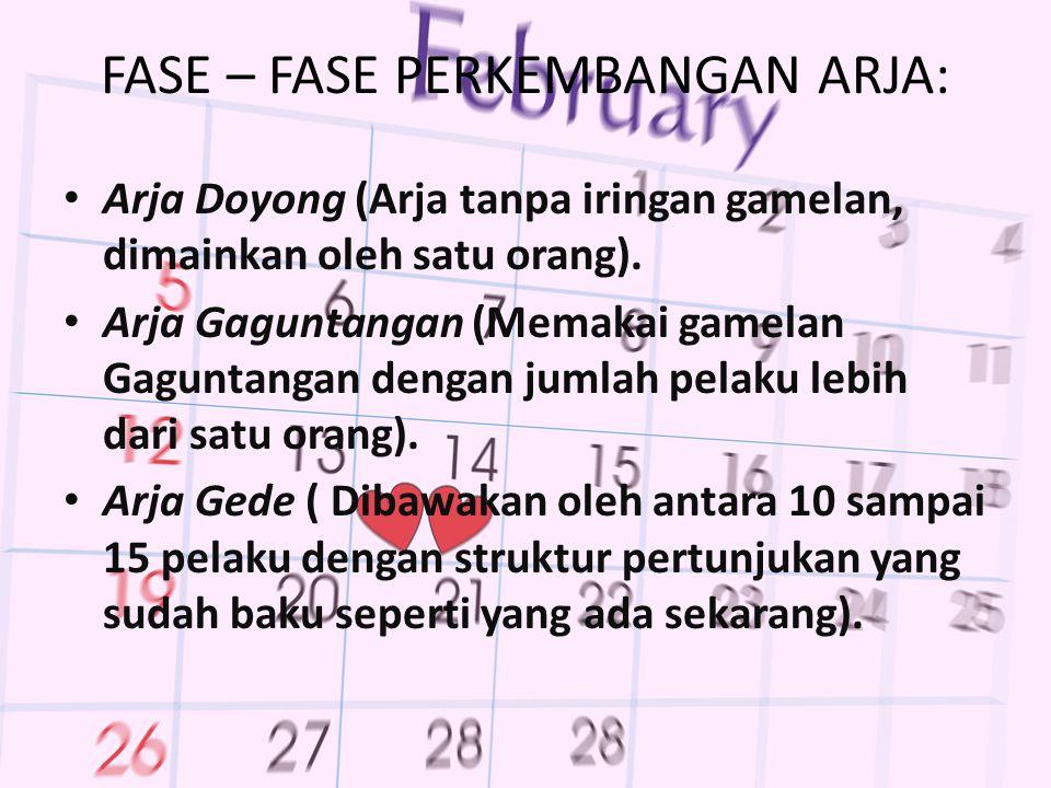 FASE – FASE PERKEMBANGAN ARJA: Arja Doyong (Arja tanpa iringan gamelan, dimainkan oleh satu orang).