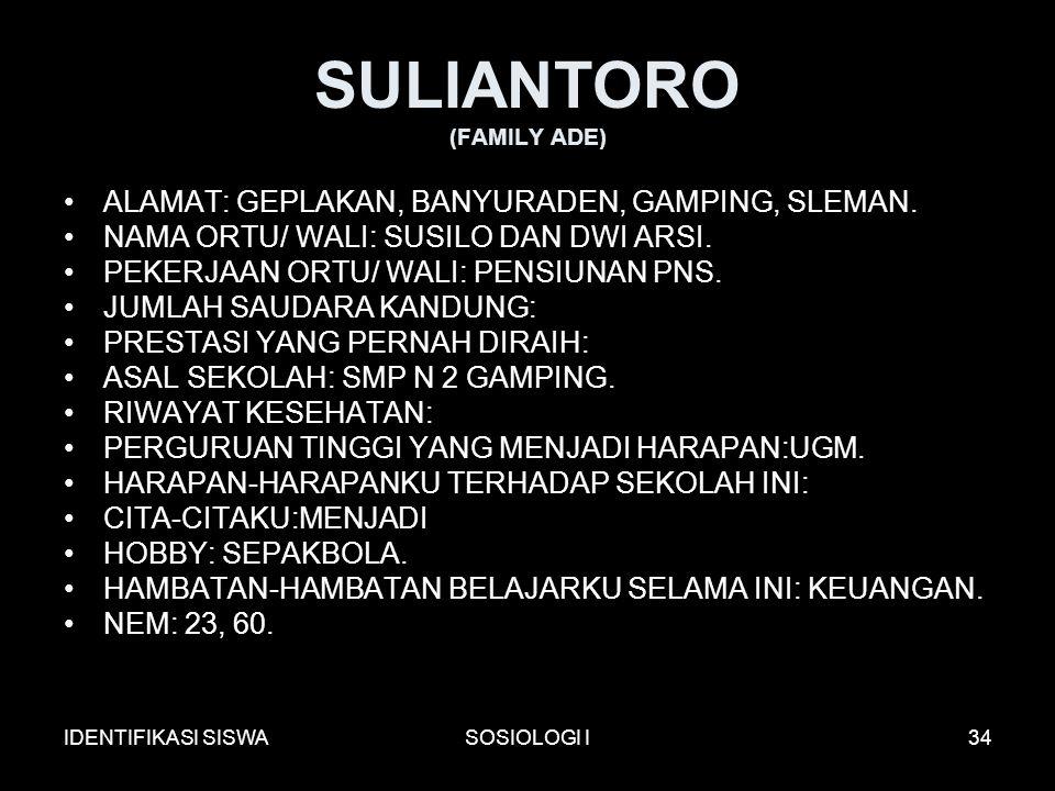IDENTIFIKASI SISWASOSIOLOGI I34 SULIANTORO (FAMILY ADE) ALAMAT: GEPLAKAN, BANYURADEN, GAMPING, SLEMAN.