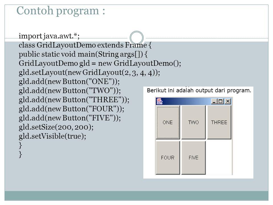 Contoh program : import java.awt.*; class GridLayoutDemo extends Frame { public static void main(String args[]) { GridLayoutDemo gld = new GridLayoutDemo(); gld.setLayout(new GridLayout(2, 3, 4, 4)); gld.add(new Button( ONE )); gld.add(new Button( TWO )); gld.add(new Button( THREE )); gld.add(new Button( FOUR )); gld.add(new Button( FIVE )); gld.setSize(200, 200); gld.setVisible(true); }