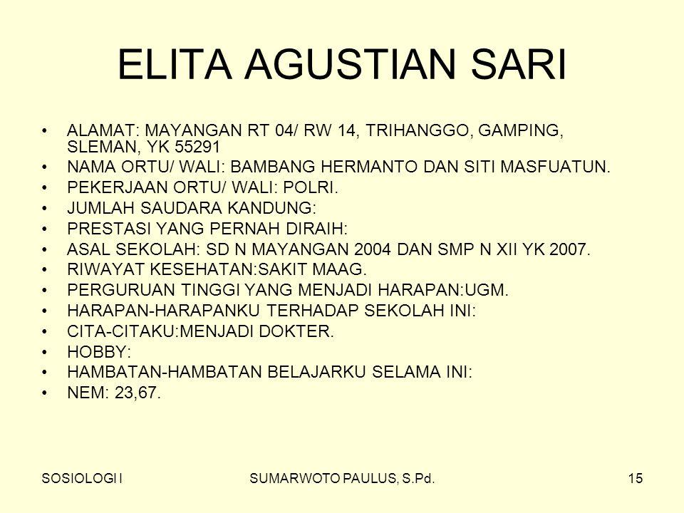 SOSIOLOGI ISUMARWOTO PAULUS, S.Pd.15 ELITA AGUSTIAN SARI ALAMAT: MAYANGAN RT 04/ RW 14, TRIHANGGO, GAMPING, SLEMAN, YK 55291 NAMA ORTU/ WALI: BAMBANG HERMANTO DAN SITI MASFUATUN.
