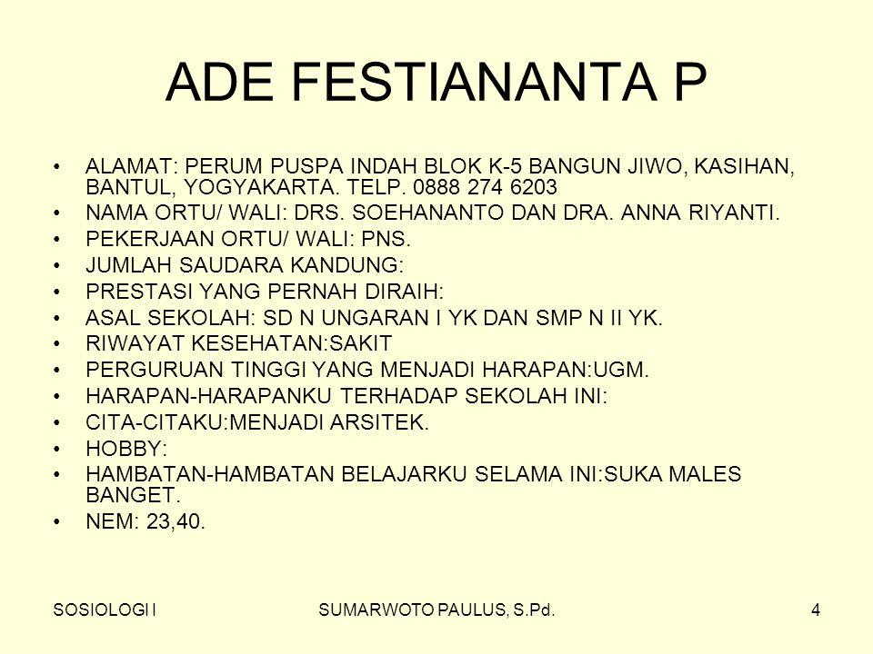 SOSIOLOGI ISUMARWOTO PAULUS, S.Pd.4 ADE FESTIANANTA P ALAMAT: PERUM PUSPA INDAH BLOK K-5 BANGUN JIWO, KASIHAN, BANTUL, YOGYAKARTA.