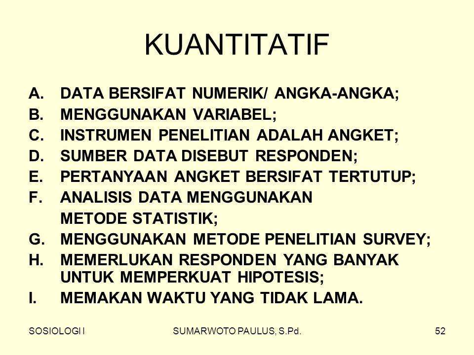 SOSIOLOGI ISUMARWOTO PAULUS, S.Pd.52 KUANTITATIF A.DATA BERSIFAT NUMERIK/ ANGKA-ANGKA; B. MENGGUNAKAN VARIABEL; C. INSTRUMEN PENELITIAN ADALAH ANGKET;