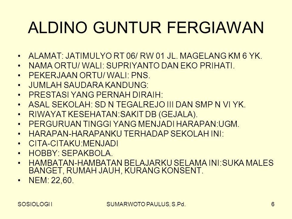 SOSIOLOGI ISUMARWOTO PAULUS, S.Pd.6 ALDINO GUNTUR FERGIAWAN ALAMAT: JATIMULYO RT 06/ RW 01 JL.