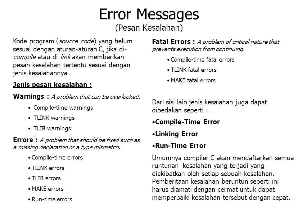 Error Messages (Pesan Kesalahan) Kode program (source code) yang belum sesuai dengan aturan-aturan C, jika di- compile atau di-link akan memberikan pe