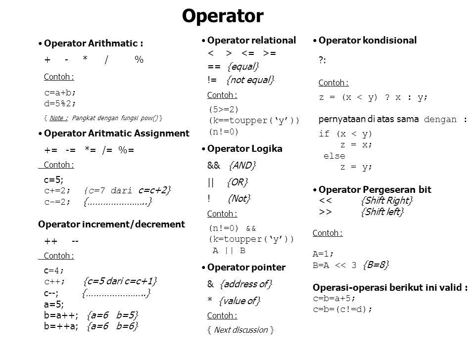 Operator Arithmatic : + - * / % Contoh : c=a+b; d=5%2; { Note : Pangkat dengan fungsi pow() } Operator Aritmatic Assignment += -= *= /= %= Contoh : c=