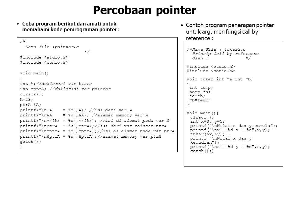 Percobaan pointer Coba program berikut dan amati untuk memahami kode pemrograman pointer : /* Nama File :pointer.c */ #include void main() { int A;//d