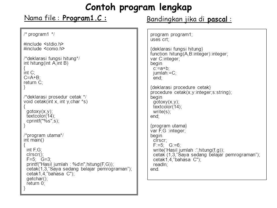 Contoh program lengkap /* program1 */ #include /*deklarasi fungsi hitung*/ int hitung(int A,int B) { int C; C=A+B; return C; } /*deklarasi prosedur ce