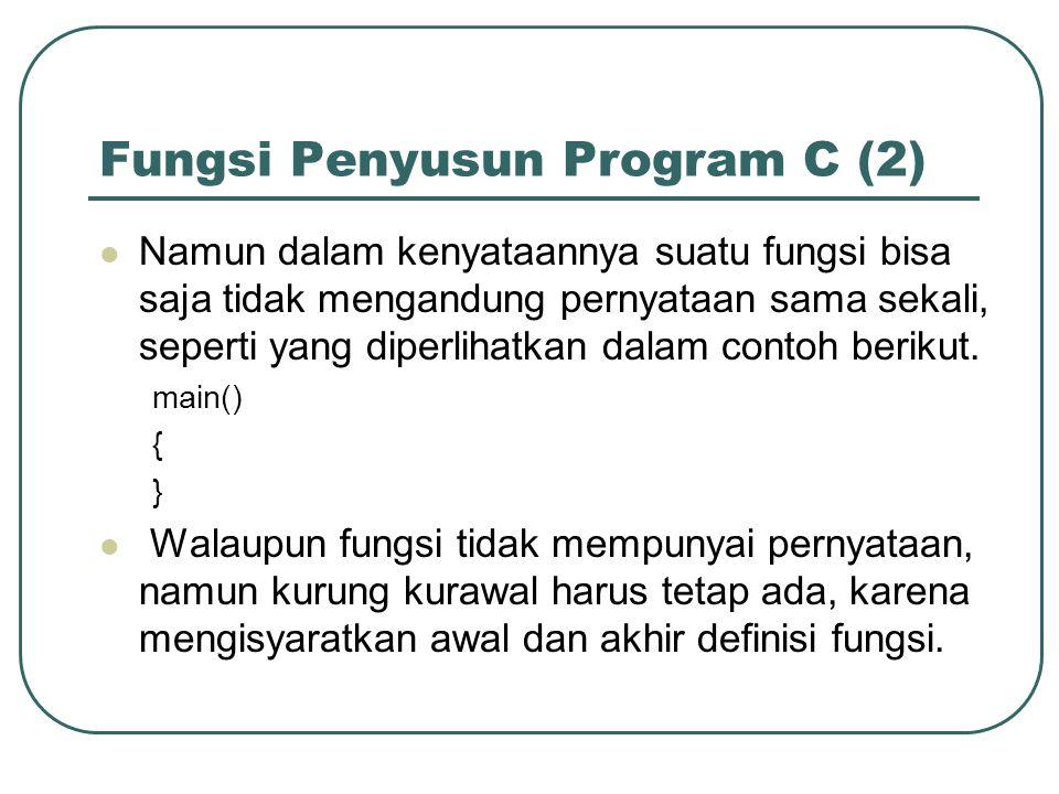 Fungsi Penyusun Program C (2) Namun dalam kenyataannya suatu fungsi bisa saja tidak mengandung pernyataan sama sekali, seperti yang diperlihatkan dalam contoh berikut.