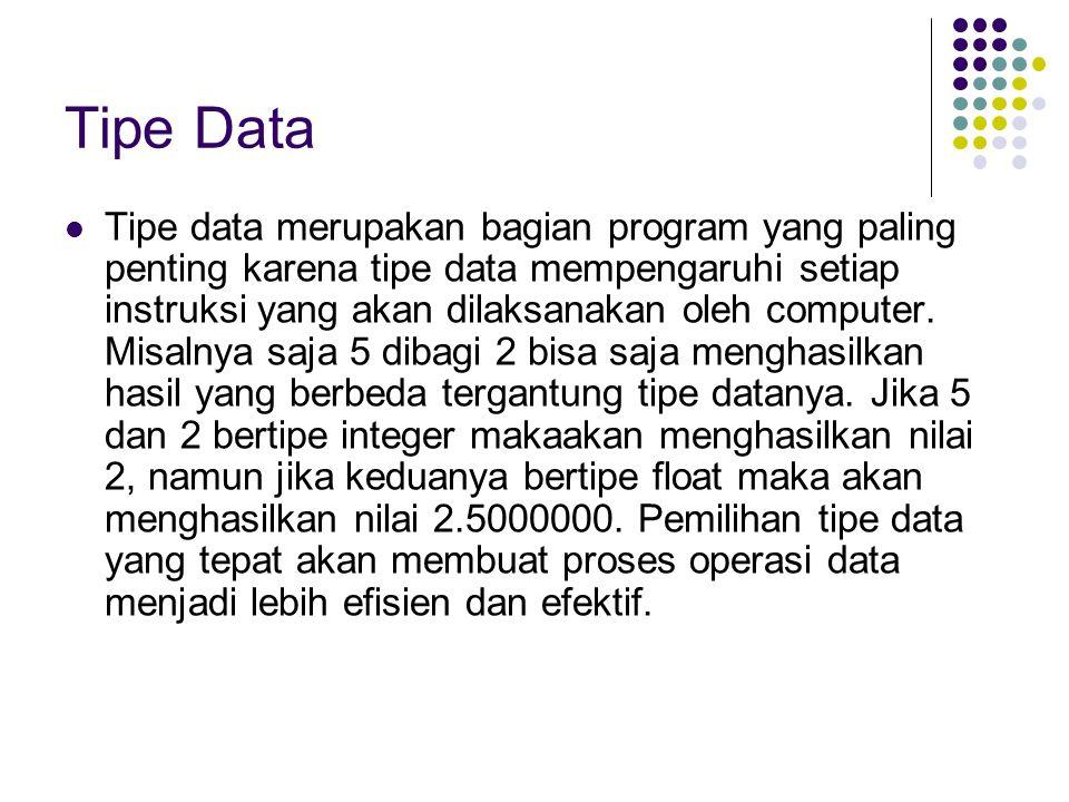 Dalam bahasa C terdapat lima tipe data dasar, yaitu : NoTipe DataUkuranRange (Jangkauan)FormatKeterangan 1char1 byte- 128 s/d 127%cKarakter/string 2int2 byte- 32768 s/d 32767%i, %dInteger/bilangan bulat 3float4 byte- 3.4E-38 s/d 3.4E+38%fFloat/bilangan pecahan 4double8 byte- 1.7E-308 s/d 1.7+308%lfPecahan presisi ganda 5void0 byteTidak bertipe #include stdio.h #include conio.h void main() { int x; float y; char z; double w; clrscr(); /* untuk membersihkan layar */ x = 10; /* variable x diisi dengan 10 */ y = 9.45; /* variable y diisi dengan 9.45 */ z = 'C'; /* variable z diisi dengan karakter C */ w = 3.45E+20; /* variable w diisi dengan 3.45E+20 */ printf( Nilai dari x adalah : %i\n , x); /* Menampilkan isi variable x */ printf( Nilai dari y adalah : %f\n , y); /* Menampilkan isi variable y */ printf( Nilai dari z adalah : %c\n , z); /* Menampilkan isi variable z */ printf( Nilai dari w adalah : %lf\n , w); /* Menampilkan isi variable w */ getch(); }