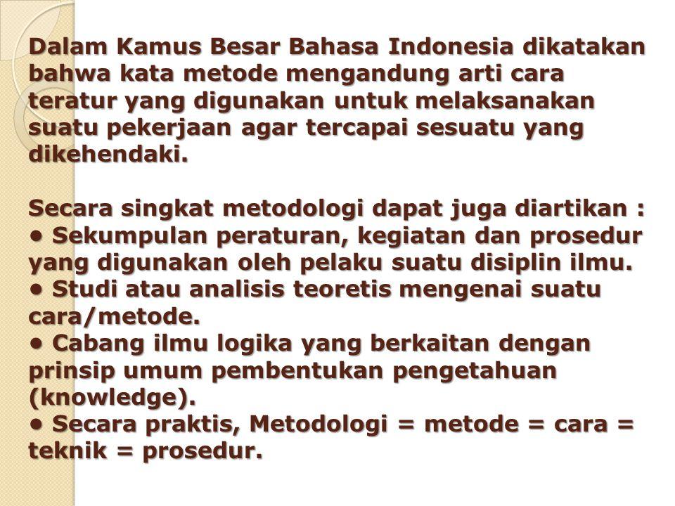Dalam Kamus Besar Bahasa Indonesia dikatakan bahwa kata metode mengandung arti cara teratur yang digunakan untuk melaksanakan suatu pekerjaan agar ter