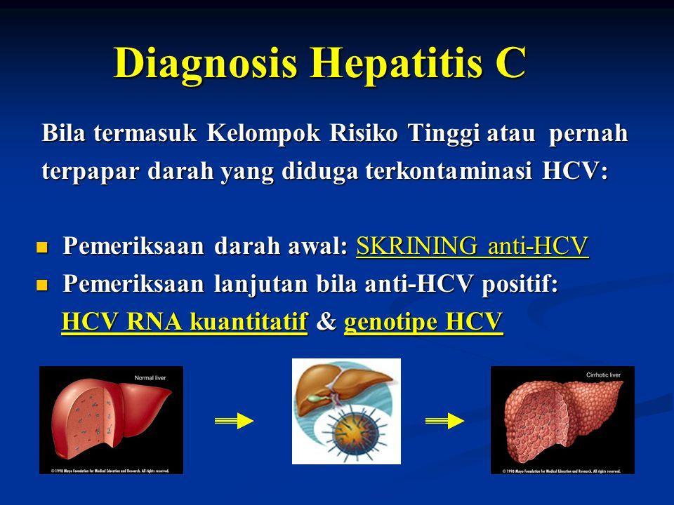 Diagnosis Hepatitis C Bila termasuk Kelompok Risiko Tinggi atau pernah Bila termasuk Kelompok Risiko Tinggi atau pernah terpapar darah yang diduga ter