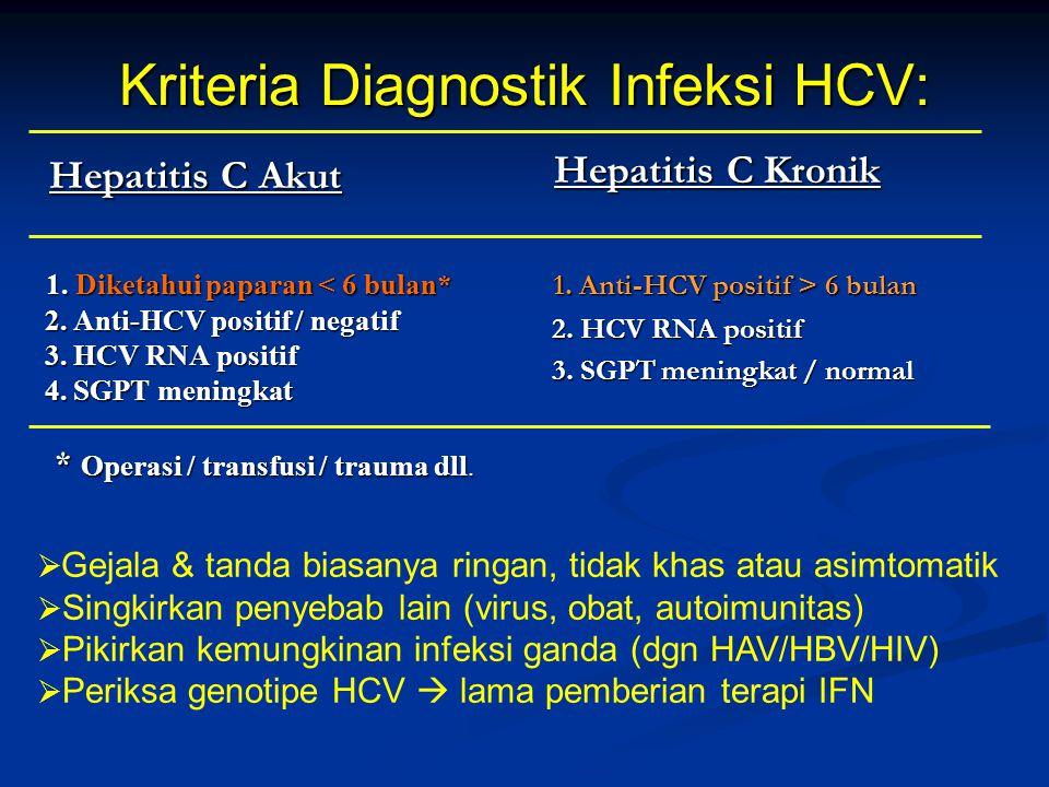 Kriteria Diagnostik Infeksi HCV: Hepatitis C Akut Hepatitis C Akut 1. Diketahui paparan < 6 bulan* 1. Diketahui paparan < 6 bulan* 2. Anti-HCV positif