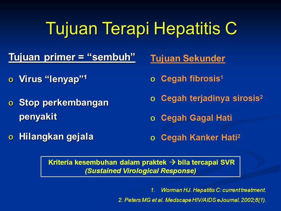 """Tujuan Terapi Hepatitis C Tujuan primer = """"sembuh"""" o Virus """"lenyap"""" 1 o Stop perkembangan penyakit o Hilangkan gejala Tujuan Sekunder oCegah fibrosis"""
