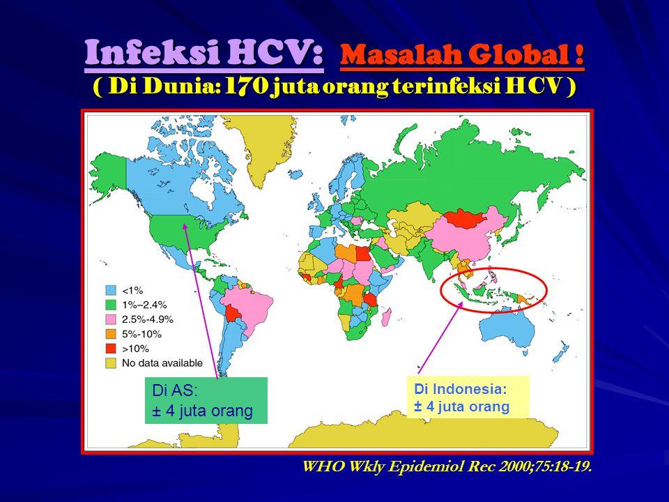 WHO Wkly Epidemiol Rec 2000;75:18-19. Infeksi HCV: Masalah Global ! ( Di Dunia: 170 juta orang terinfeksi HCV ) Di Indonesia: ± 4 juta orang Di AS: ±