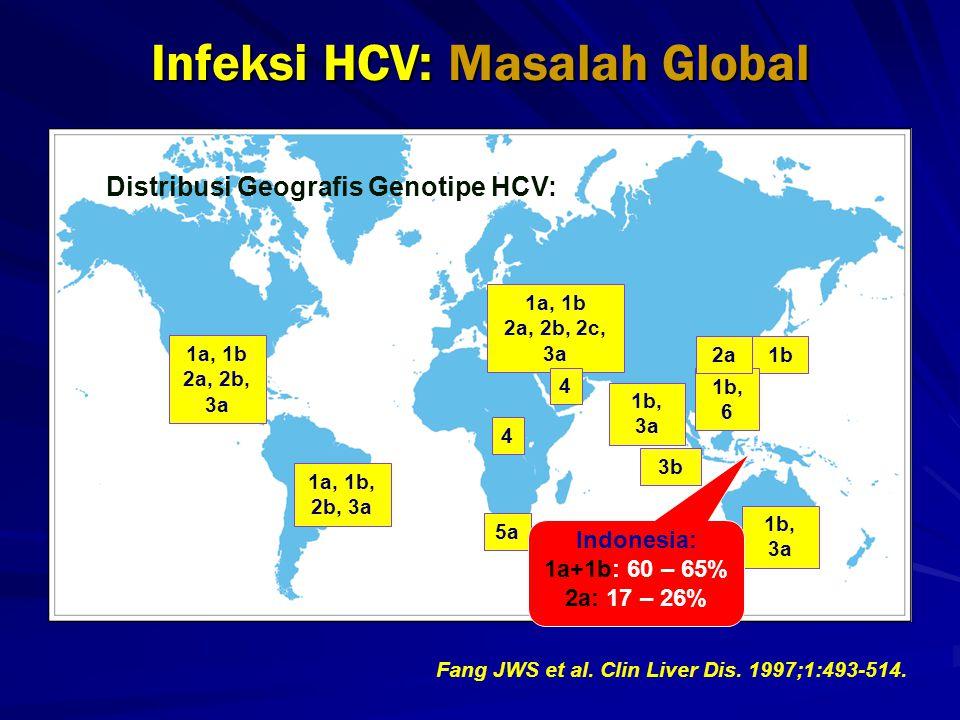 1a, 1b 2a, 2b, 3a 1a, 1b 2a, 2b, 2c, 3a 4 5a 1b 1b, 6 1b, 3a 3b 4 Fang JWS et al. Clin Liver Dis. 1997;1:493-514. Infeksi HCV: Masalah Global 1a, 1b,
