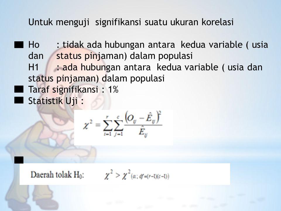 Untuk menguji signifikansi suatu ukuran korelasi Ho: tidak ada hubungan antara kedua variable ( usia dan status pinjaman) dalam populasi H1: ada hubun