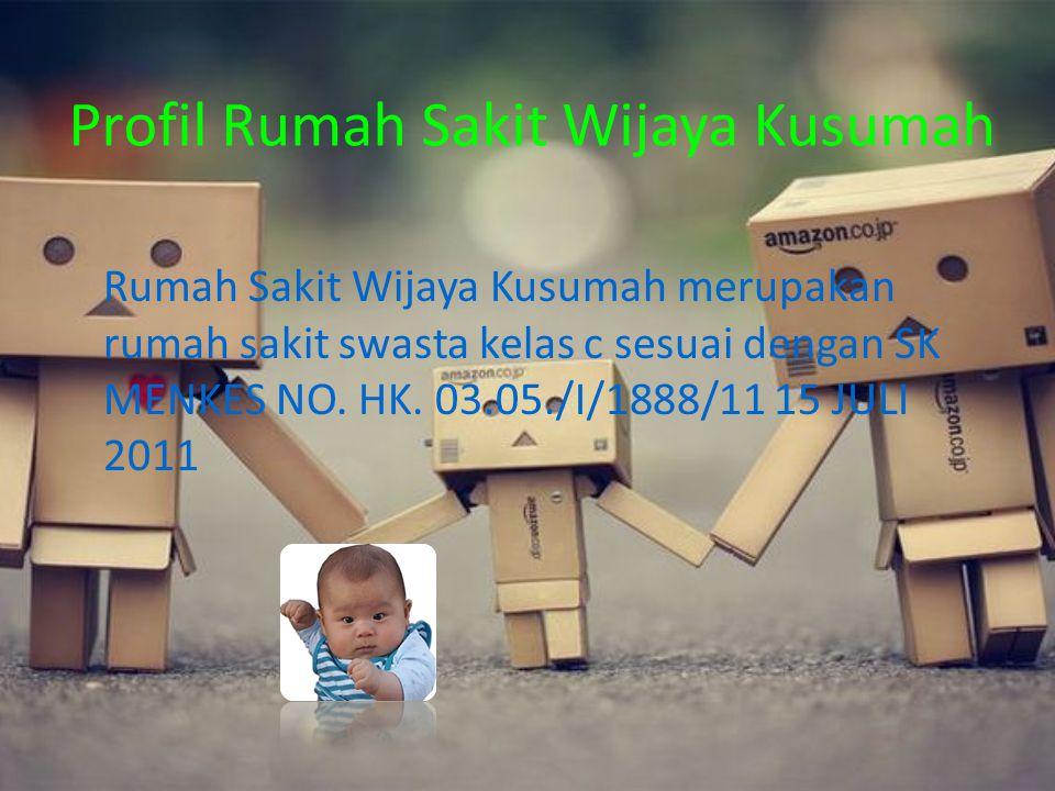 Profil Rumah Sakit Wijaya Kusumah Rumah Sakit Wijaya Kusumah merupakan rumah sakit swasta kelas c sesuai dengan SK MENKES NO. HK. 03.05./I/1888/11 15